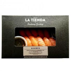 Nigiris de atún rojo de almadraba y de salmón fresco